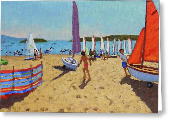Pushing Out The Boat, Abersoch Greeting Card by Andrew Macara
