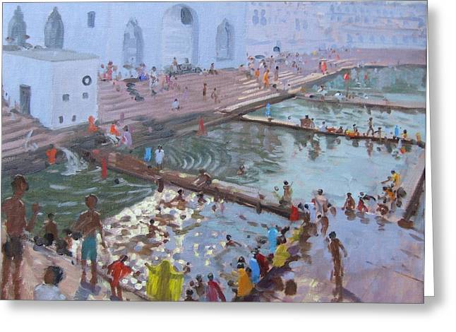 Sacred Paintings Greeting Cards - Pushkar ghats Rajasthan Greeting Card by Andrew Macara