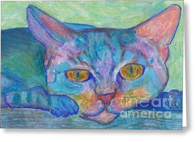 Sunbathing Pastels Greeting Cards - Pussy Cat Greeting Card by Jennifer Choate