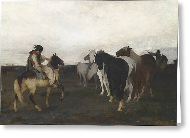 Expressionist Horse Greeting Cards - Puszta horses Greeting Card by Otto von Faber du Faur