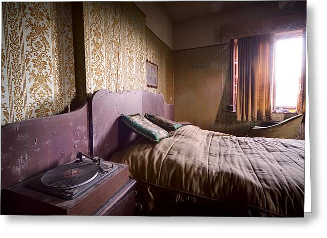 Abandoned House Greeting Cards - Put On A Record Nighttime Music - Urban Exploration Greeting Card by Dirk Ercken
