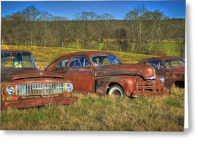 Rusted Cars Greeting Cards - Put Out To Pasture Greeting Card by Reid Callaway