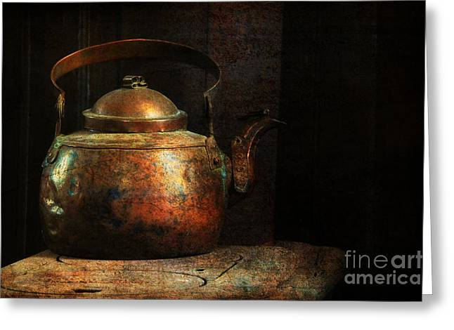 Old Stove Greeting Cards - Put The Kettle On Greeting Card by Lois Bryan