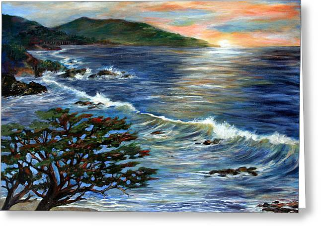 Big Sur Beach Paintings Greeting Cards - Putting my first love to rest Greeting Card by Annette Dion McGowan