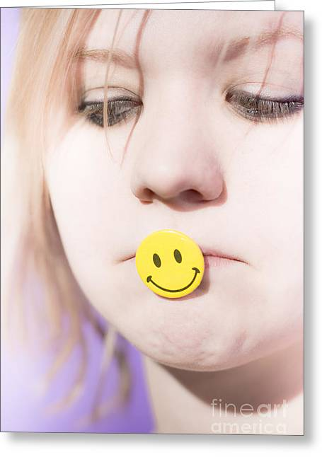 Despair Greeting Cards - Putting On A Happy Face Greeting Card by Ryan Jorgensen