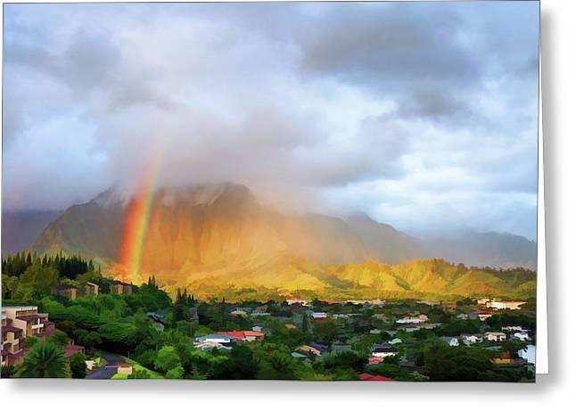Topaz Greeting Cards - Puu Alii with Rainbow Greeting Card by Dan McManus