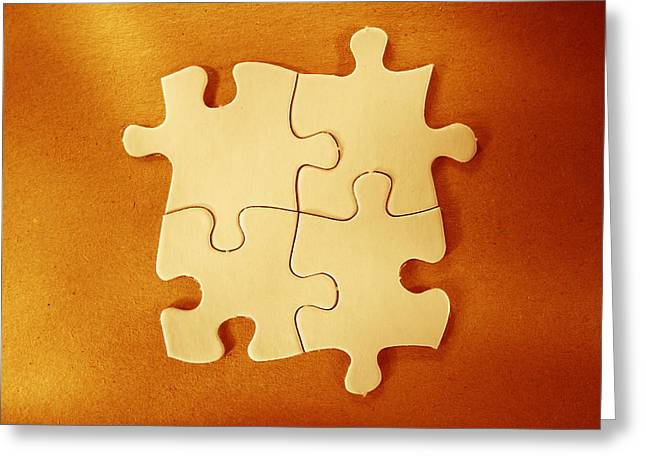 Game Piece Greeting Cards - Puzzle pieces  Greeting Card by Les Cunliffe