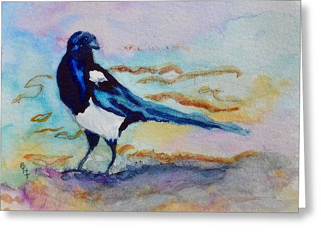 Blue And Green Greeting Cards - Pye II Greeting Card by Beverley Harper Tinsley