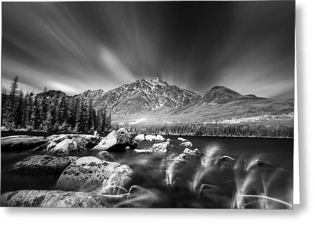 Canadian Rockies Greeting Cards - Pyramid Lake Rocky Shores Greeting Card by Ian MacDonald