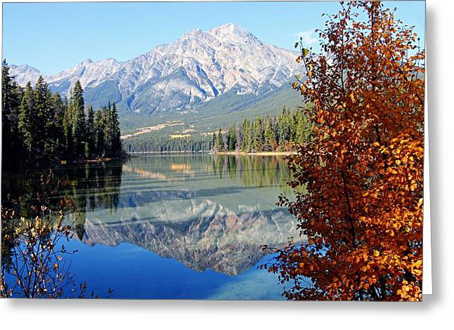 Alberta Water Falls Greeting Cards - Pyramid Mountain Reflection 3 Greeting Card by Larry Ricker