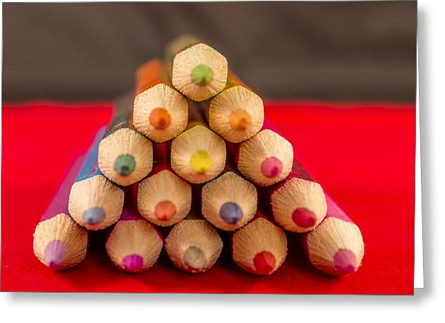 Coloured Greeting Cards - Pyramid of Colours Greeting Card by Angela Aird