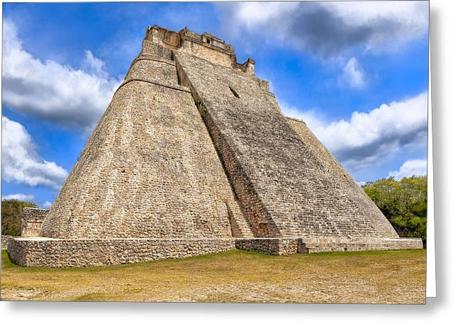 Mayans Greeting Cards - Pyramid of the Magician at Uxmal Greeting Card by Mark E Tisdale