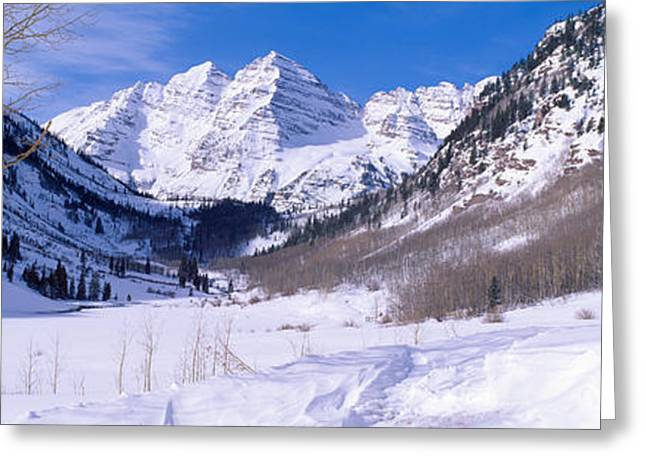 Pyramid Peak And Maroon Bells Greeting Card by Panoramic Images