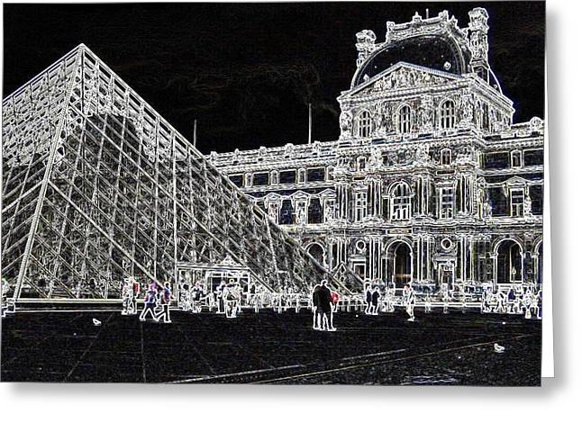 Pyramids Greeting Cards Greeting Cards - Pyramide du Louvre Greeting Card by Peter Clemence