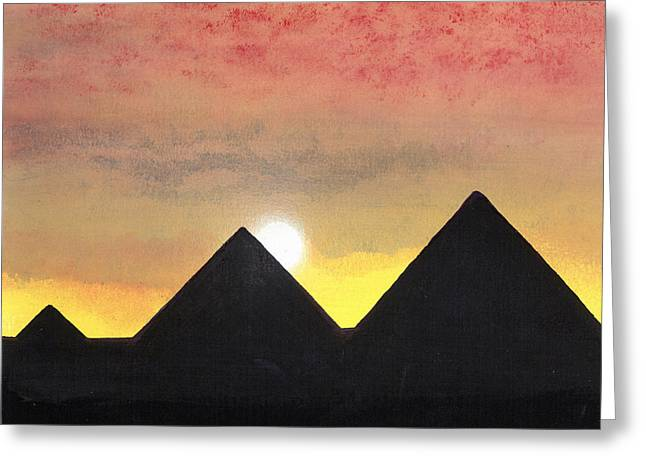 The Plateaus Greeting Cards - Pyramids At Sunset Greeting Card by Mark Richardson