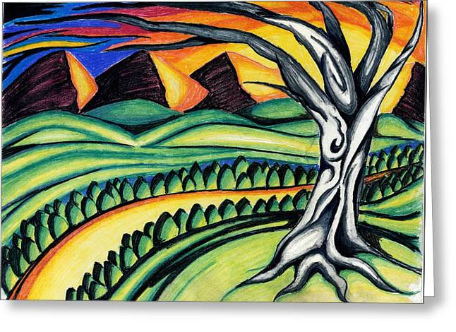 Tree Roots Pastels Greeting Cards - Pyramids Greeting Card by Catilin Ott