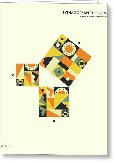 Geometric Art Greeting Cards - Pythagorean Theorem Proof By Rearrangement  Greeting Card by Jazzberry Blue