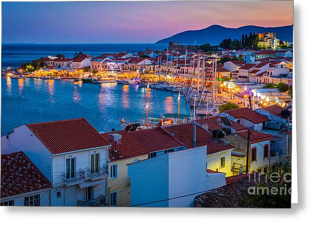 Aegean Sea Greeting Cards - Pythagoreio Evening Greeting Card by Inge Johnsson