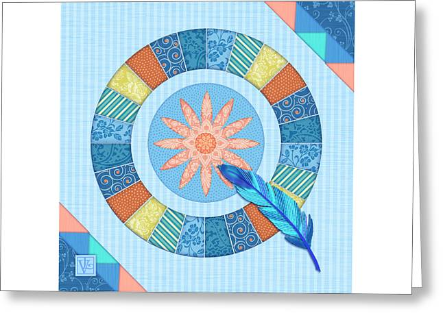 Q Is For Quilt And Quill Greeting Card by Valerie Drake Lesiak