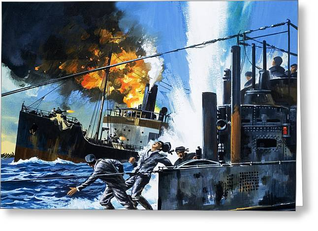 Q Ships During World War One Greeting Card by Wilf Hardy