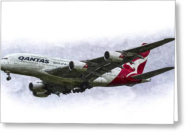 A380 Greeting Cards - Qantas Airbus A380 Art Greeting Card by David Pyatt