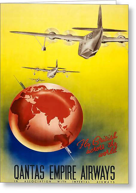 Airways Greeting Cards - Qantas Empire Airways Greeting Card by David Wagner