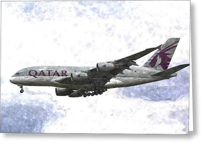 A380 Greeting Cards - Qatar Airlines Airbus A380 Art Greeting Card by David Pyatt