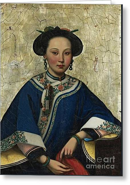 Qing Dynasty Painting In The Style Greeting Card by MotionAge Designs