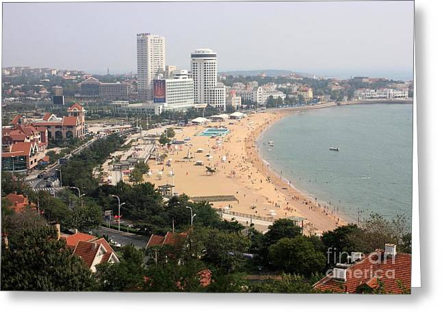 China Beach Greeting Cards - Qingdao Beach with Skyline Greeting Card by Carol Groenen
