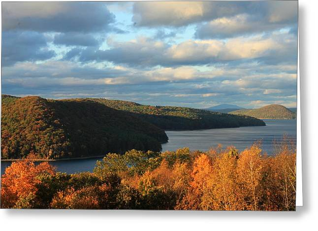 Quabbin Reservoir Foliage View Greeting Card by John Burk