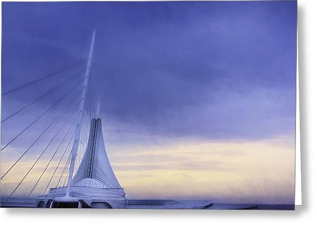 Storm Clouds Digital Greeting Cards - Quadracci Pavilion Sunrise Greeting Card by Scott Norris