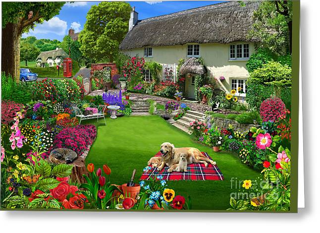 Gardeners Greeting Cards - Quaint Country Cottage Greeting Card by Gerald Newton