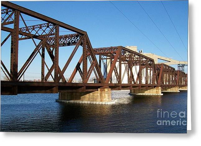 Quaker Oats Old Railway Bridge Greeting Card by Marsha Heiken