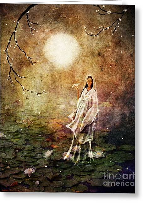Geisha Greeting Cards - Quan Yin in a Lotus Pond Greeting Card by Laura Iverson