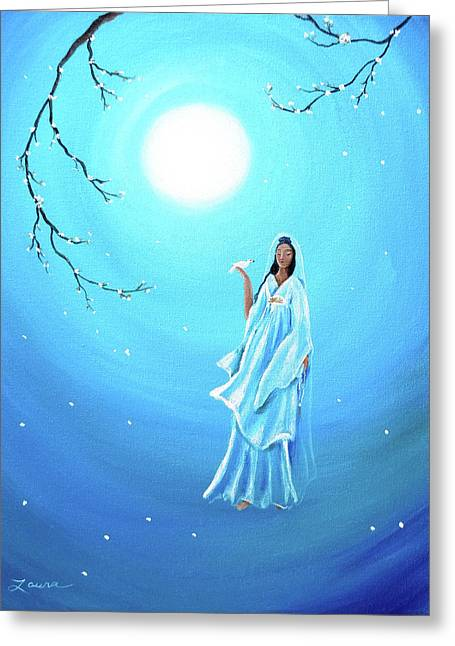 Quan Yin Greeting Cards - Quan Yin in Teal Moonlight Greeting Card by Laura Iverson