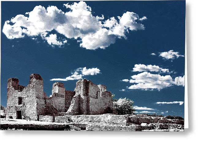 Pueblo Architecture Greeting Cards - Quarai New Mexico - Infrared false color Greeting Card by Christine Till