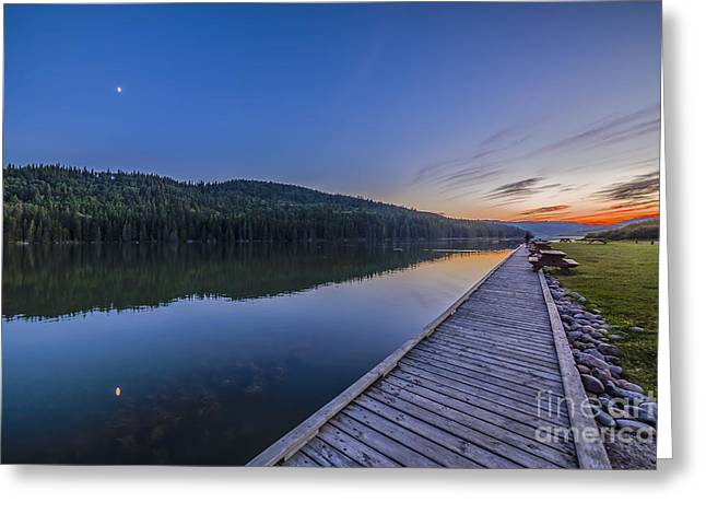 Cypress Hills Interprovincial Park Greeting Cards - Quarter Moon Reflected In The Waters Greeting Card by Alan Dyer