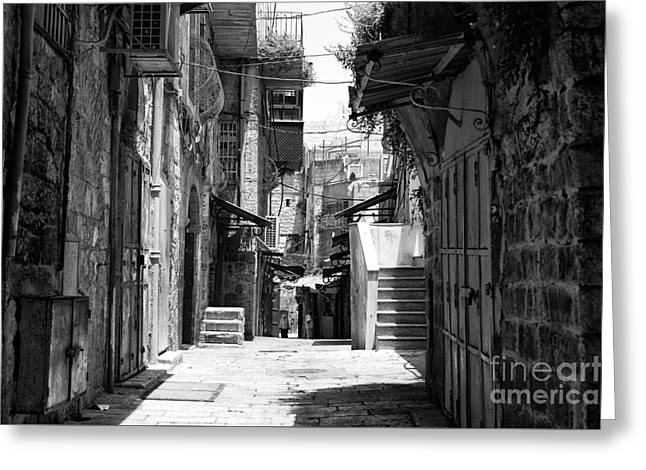 Old Street Greeting Cards - Quarter Street Greeting Card by John Rizzuto