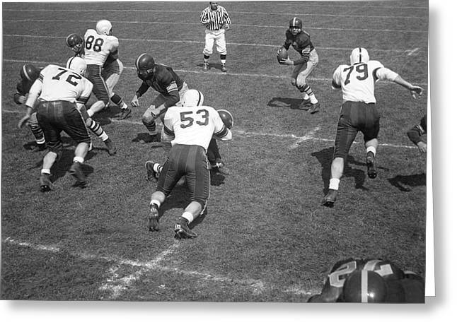 Team Mates Greeting Cards - Quarterback Ready To Pass Greeting Card by Underwood Archives