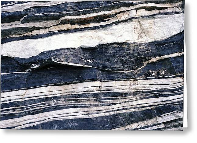 Metamorphism Greeting Cards - Quartz And Schist Outcrops Greeting Card by Dirk Wiersma