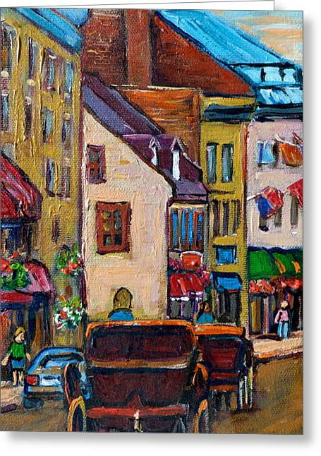 Horse And Buggy Paintings Greeting Cards - Quebec City Street Scene  Caleche Ride Greeting Card by Carole Spandau
