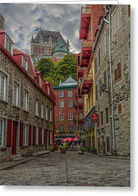 Chateau Greeting Cards - Quebec from the River Greeting Card by Capt Gerry Hare