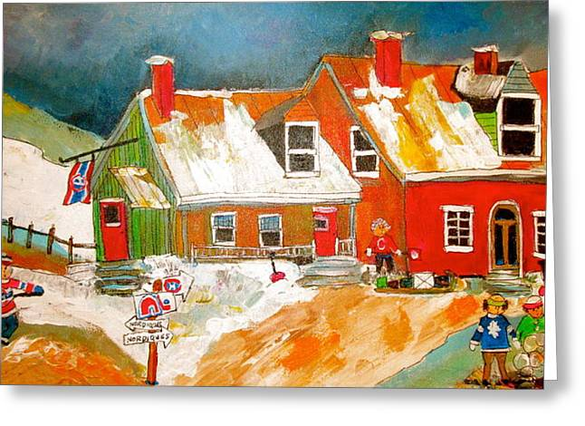 Quebec Hockey Nation Greeting Card by Michael Litvack