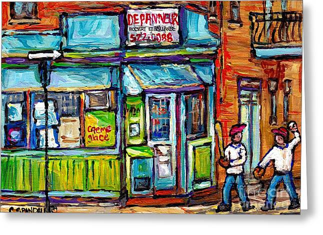 Baseball Paintings Greeting Cards - Quebec Painting Place Dufresne Boys Play Baseball At Corner Store Best Montreal Depanneur Art Scene Greeting Card by Carole Spandau