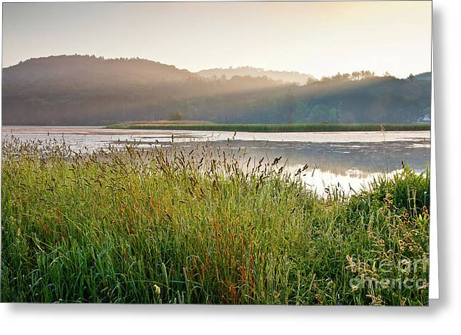 Wild And Scenic Greeting Cards - Quechee Sunrise Greeting Card by Susan Cole Kelly