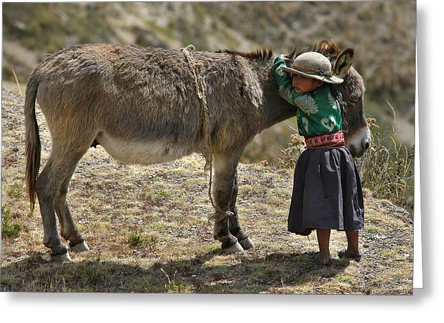 Indigenous Greeting Cards - Quechua girl hugging his donkey. Republic of Bolivia. Greeting Card by Eric Bauer