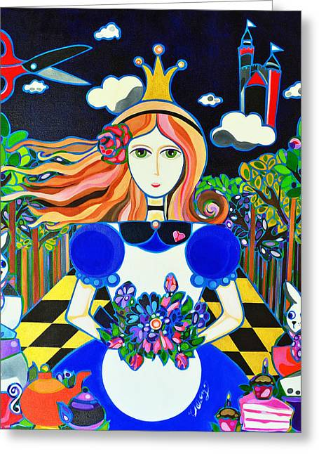 Rabbit In Cup Greeting Cards - Queen Alice Greeting Card by Jenny Valdez