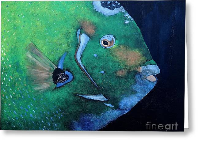 Decorative Fish Greeting Cards - Queen Angelfish Greeting Card by Barbara Teller