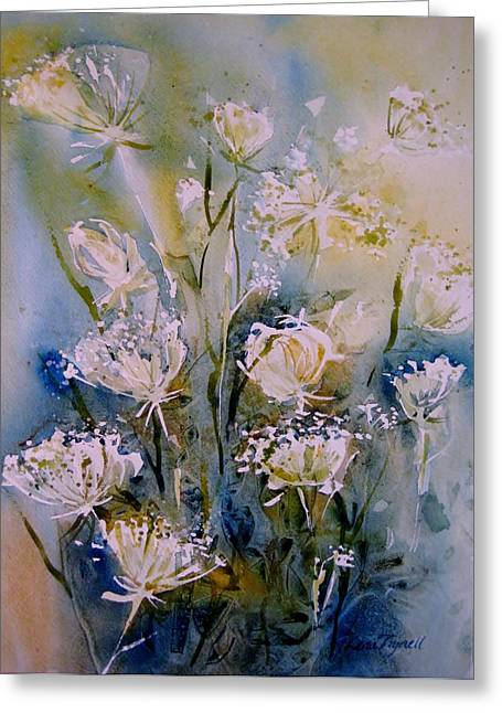 Botanicals Tapestries - Textiles Greeting Cards - Queen Annes Lace Greeting Card by Lena Thynell