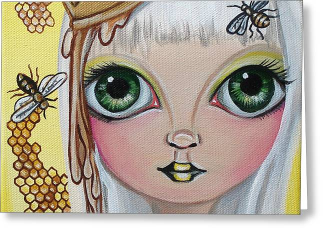 Quirky Greeting Cards - Queen Bee Greeting Card by Jaz Higgins